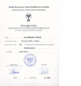 świadectwo Ukończenia Studiów Podyplomowych