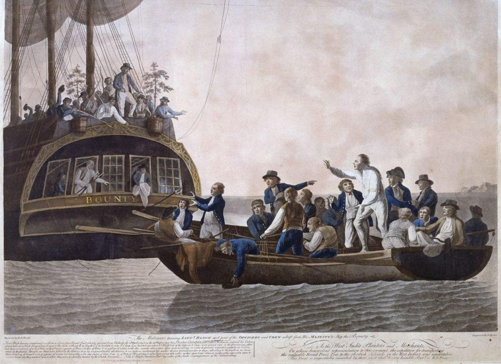 Bunt na Bounty. Rebelianci wysadzają kapitana i wiernych mu marynarzy do szalupy oraz wyrzucają sadzonki chlebowca.