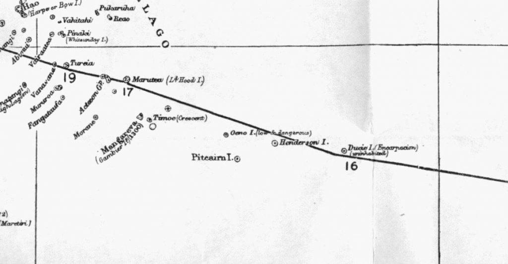 Trasa HMS Pandora w drodze na Thaiti.