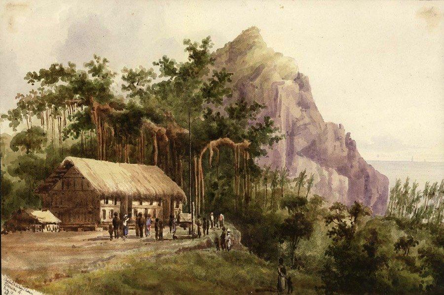 Szkic przedstawiający życie na Pitcairn na początku XIX wieku.